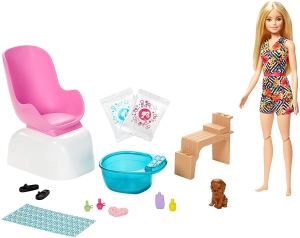 GHN07 BARBIE LALKA SALON SPA MANICURE PEDICURE